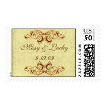 Gold Scroll Bride Groom Stamp
