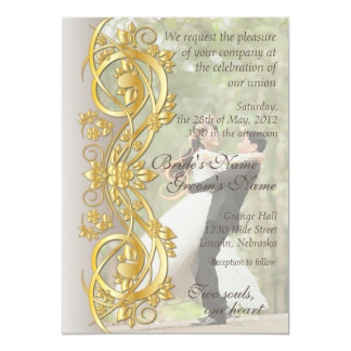 Gold Scroll Bride & Groom Wed. Invite-Dove Gray Card