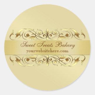 Gold Scroll Cupcake Baking Label Sticker