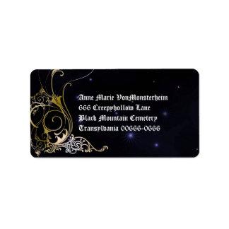 Gold Scroll Formal Goth Wedding Address Label