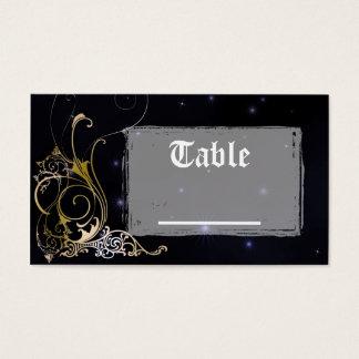 Gold Scroll Formal Goth Wedding Business Card