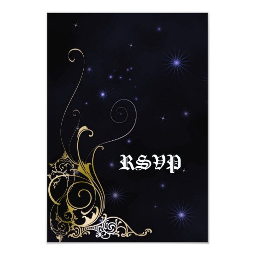 Gold Scroll Formal Goth Wedding Card
