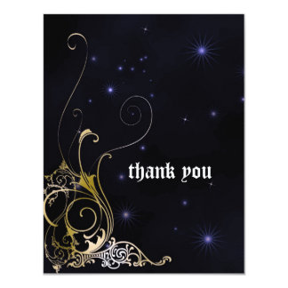Gold Scroll Formal Goth Wedding 4.25x5.5 Paper Invitation Card