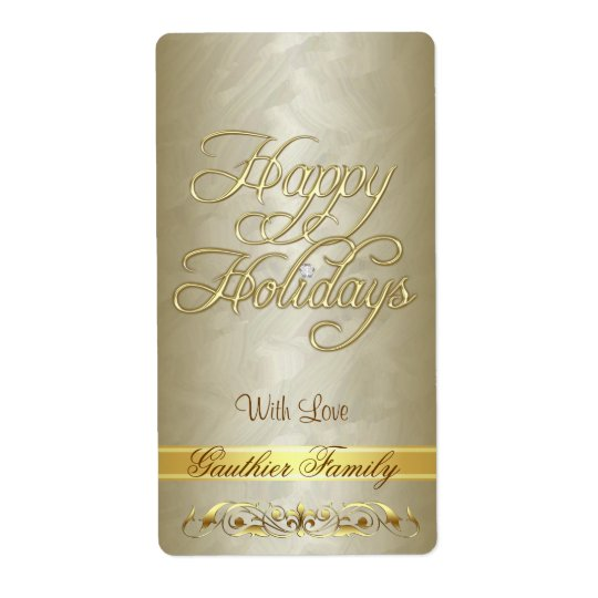 Gold Scroll Happy Holidays Wine Label