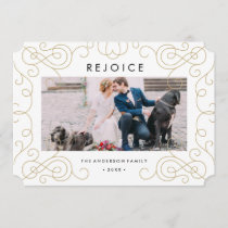 Gold Scroll Holiday Photo Card