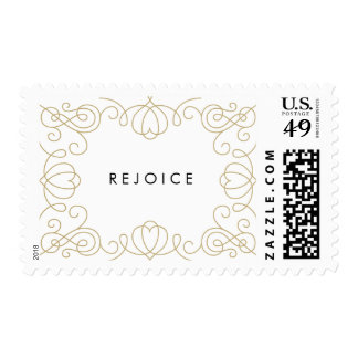 Gold Scroll Holiday Postage