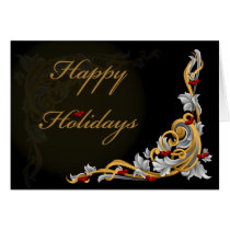 gold scroll holly berriesCorporate Christmas Cards