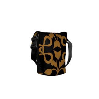 Gold Scroll on Black Messenger Bag