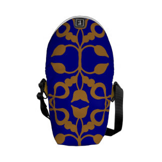 Gold Scroll on Blue Messenger Bags