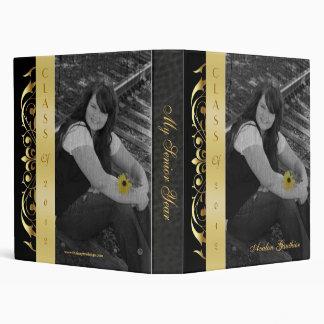 Gold Scroll Photo Black Graduation Album Binder