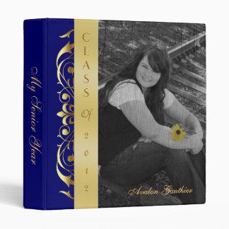 Gold Scroll Photo Blue Graduation Album Binder