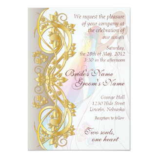 Gold Scroll Rainbow Bride & Groom Wed. Invite 1B