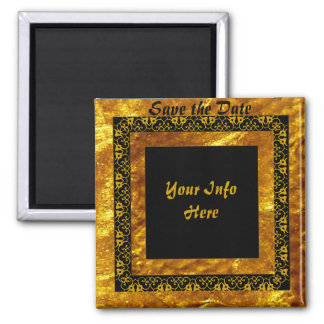 Gold Scroll Save the date. 2 Inch Square Magnet