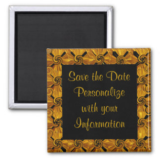 Gold Scroll Save the Date 2 Inch Square Magnet