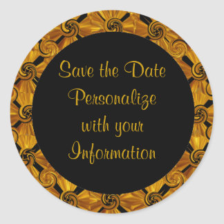 Gold Scroll Save the Date Classic Round Sticker