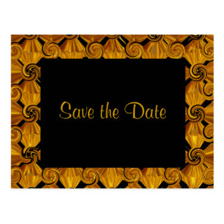 Gold Scroll Save the Date Postcard