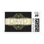 Gold Scroll with Black RSVP Stamp