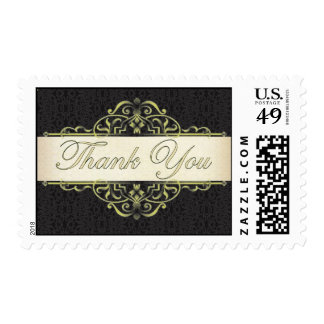 Gold Scroll with Black Thank You Stamp