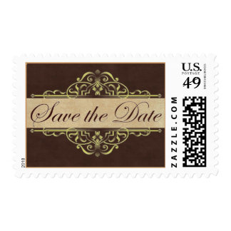 Gold Scroll with Brown Save the Date Stamp