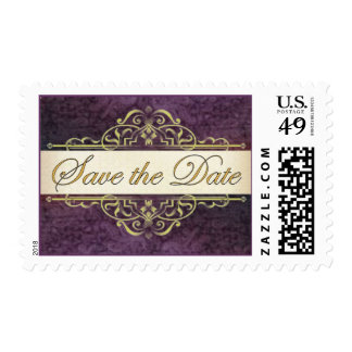 Gold Scroll with Plum Save the Date Stamp