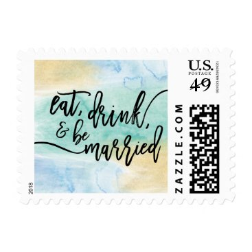 Beach Themed Gold Sea Blue Watercolor Wedding Stamp