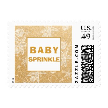 Beach Themed Gold Sea Shell baby sprinkle postage stamp 3988