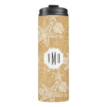 Beach Themed Gold sea shell pattern monogram, beach vibe thermal tumbler