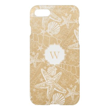 Beach Themed Gold Sea Shell Pattern with monogram iPhone 8/7 Case