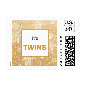 Toddler & Baby themed Gold Sea Shell twins baby shower postage stamp