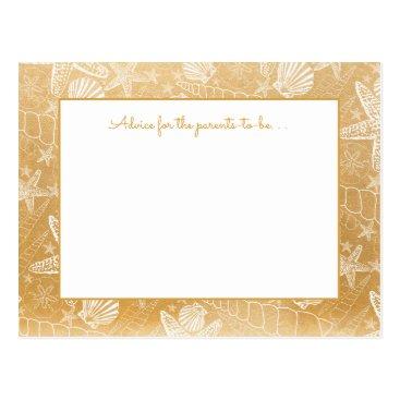 Beach Themed Gold Sea Shells Baby shower Advice, prayers 3988 Postcard