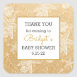 Gold Sea Shells baby shower favor thank you Square Sticker