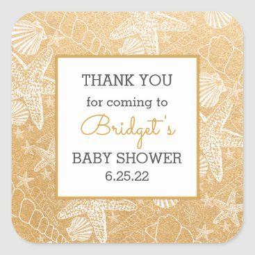 Beach Themed Gold Sea Shells baby shower favor thank you Square Sticker