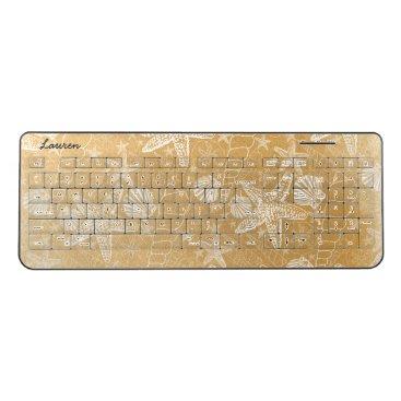 Beach Themed Gold Sea Shells office desk decor | beach, name Wireless Keyboard
