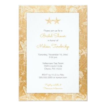 Beach Themed Gold Sea Shells Starfish Bridal Shower invite 3988