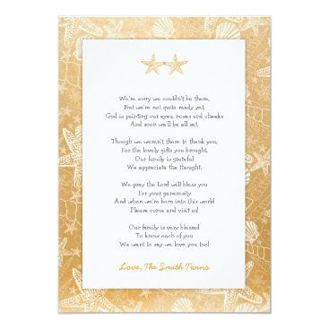 Toddler & Baby themed Gold Sea Shells Starfish neutral Twins thank you Card