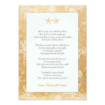 Beach Themed Gold Sea Shells Starfish neutral Twins thank you Card