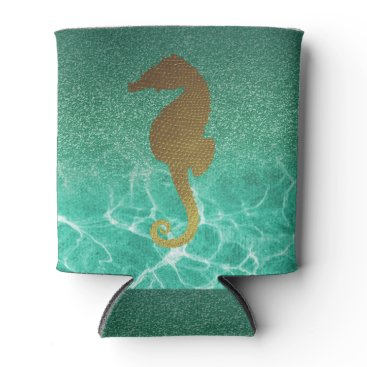 Beach Themed Gold Seahorse and Turquoise Glitter Can Cooler