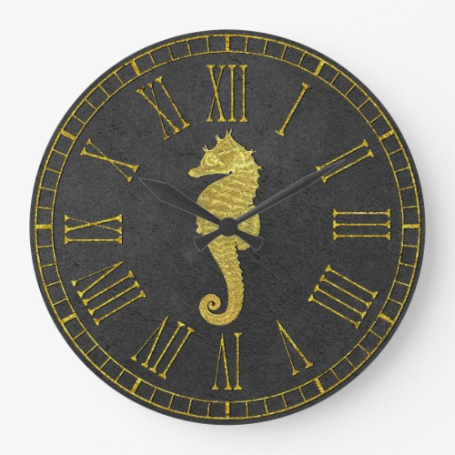 Gold Seahorse Foil Look Charcoal Large Clock