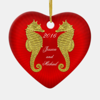 Gold Seahorses and Heart Personalize Ceramic Ornament