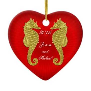 Valentines Themed Gold Seahorses and Heart Personalize Ceramic Ornament
