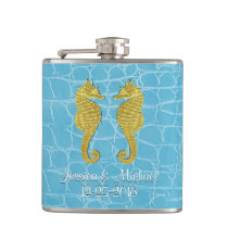 Gold Seahorses Blue Alligator Personalize Hip Flask