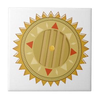 Gold SEAL : Sun CHAKRA Compass Small Square Tile
