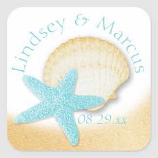 Gold Seashell and Aqua Starfish Sparkle Beach Square Sticker