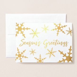 Gold Season's Greetings Script Snowflakes Foil Card