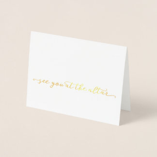 Gold See You At The Altar Wedding Day Card