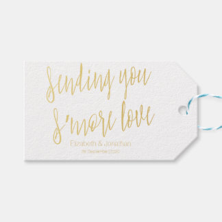 "Gold ""Sending you s'more love"" Wedding Favor Tag"