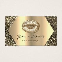 Gold Sepia Glitter Makeup Artist Kiss Lips Beauty Business Card