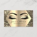 "Gold Sepia Glitter Makeup Artist Lashes Browns Business Card<br><div class=""desc"">florenceK personalized elegant business card with a motive of dandelion   make up stylist,  designer,  consultant,  manager,  director etc</div>"
