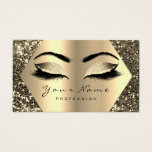 "Gold Sepia Glitter Makeup Artist Lashes Browns Business Card<br><div class=""desc"">florenceK