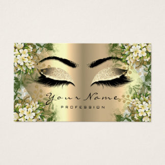 Gold Sepia Glitter Makeup Artist Lashes Floral Business Card